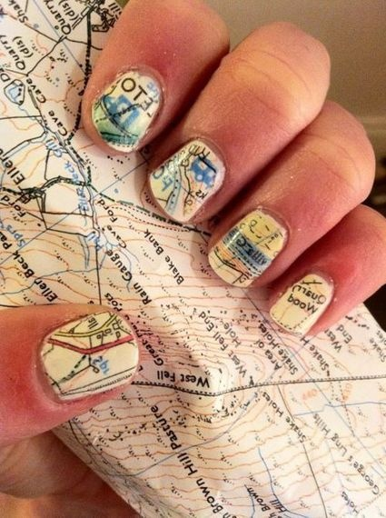 Fantastic Map Newspaper Nail Art Simple To Do At Home